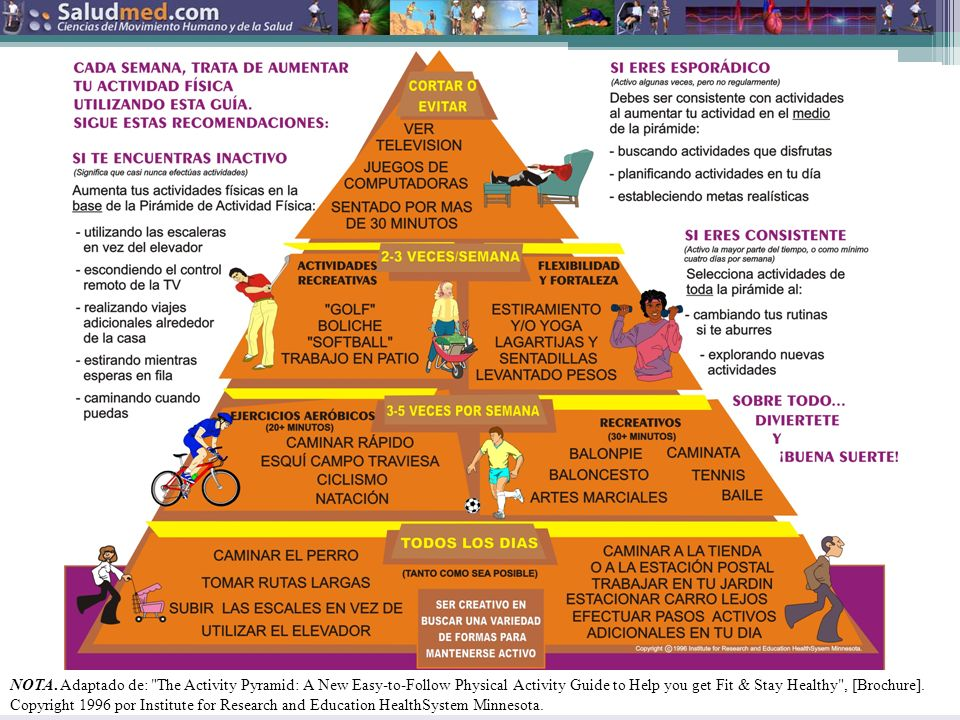 NOTA. Adaptado de: The Activity Pyramid: A New Easy-to-Follow Physical Activity Guide to Help you get Fit & Stay Healthy , [Brochure]. Copyright 1996 por Institute for Research and Education HealthSystem Minnesota.